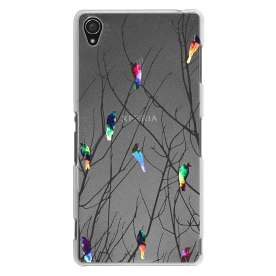 Sony Z3 Cases - Trendy Watercolor Birds on Black Tree Branches