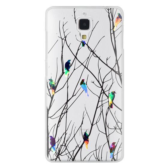 Xiaomi 4 Cases - Trendy Watercolor Birds on Black Tree Branches