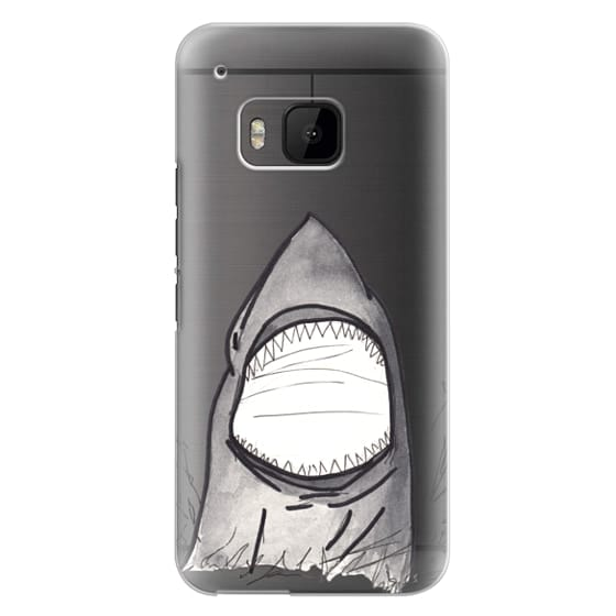 Htc One M9 Cases - Cool Gray Hand Painted Watercolor Shark in the Ocean- Transparent