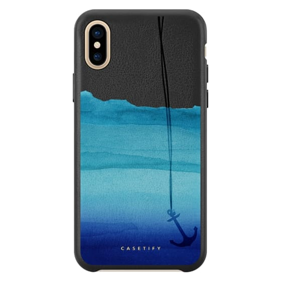 Watercolor Ocean Blue Gradient Nautical Anchor on Transparent Background