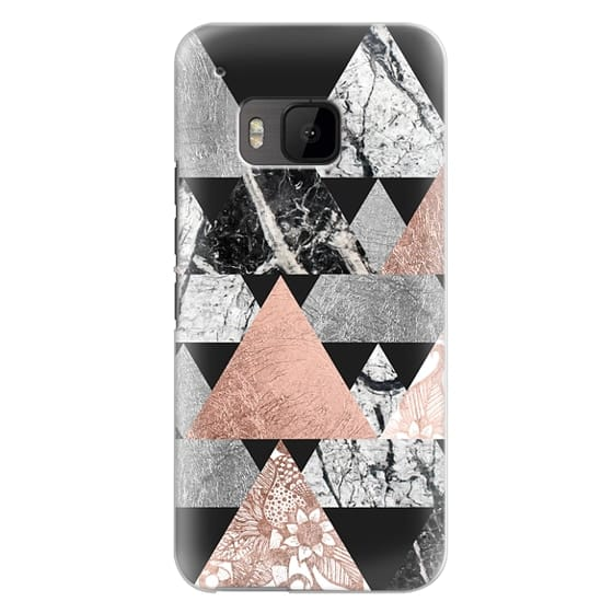 Htc One M9 Cases - Modern Elegant Floral Faux Rose Gold and Silver and Black and White Marble Geometric Triangles on Black