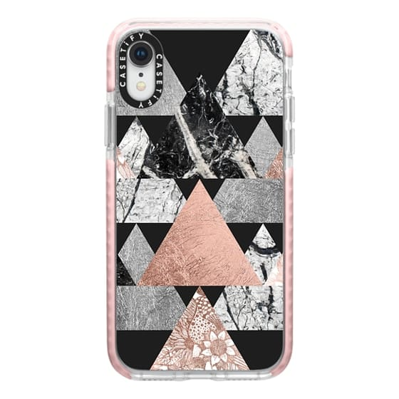 iPhone XR Cases - Modern Elegant Floral Faux Rose Gold and Silver and Black and White Marble Geometric Triangles on Black