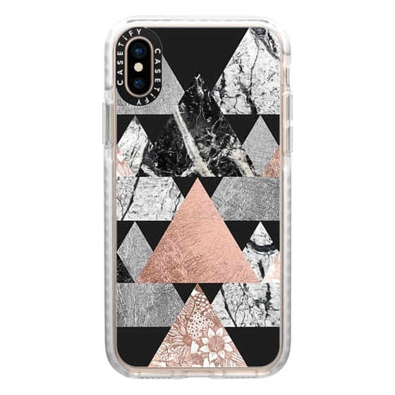 iPhone XS Cases - Modern Elegant Floral Faux Rose Gold and Silver and Black and White Marble Geometric Triangles on Black