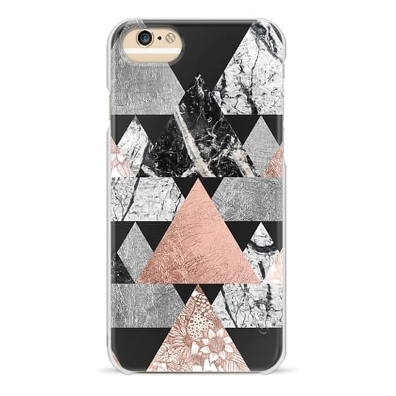 iPhone 6 Cases - Modern Elegant Floral Faux Rose Gold and Silver and Black and White Marble Geometric Triangles on Black