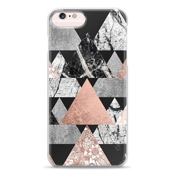 iPhone 6s Plus Cases - Modern Elegant Floral Faux Rose Gold and Silver and Black and White Marble Geometric Triangles on Black