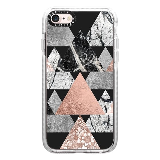 iPhone 7 Cases - Modern Elegant Floral Faux Rose Gold and Silver and Black and White Marble Geometric Triangles on Black