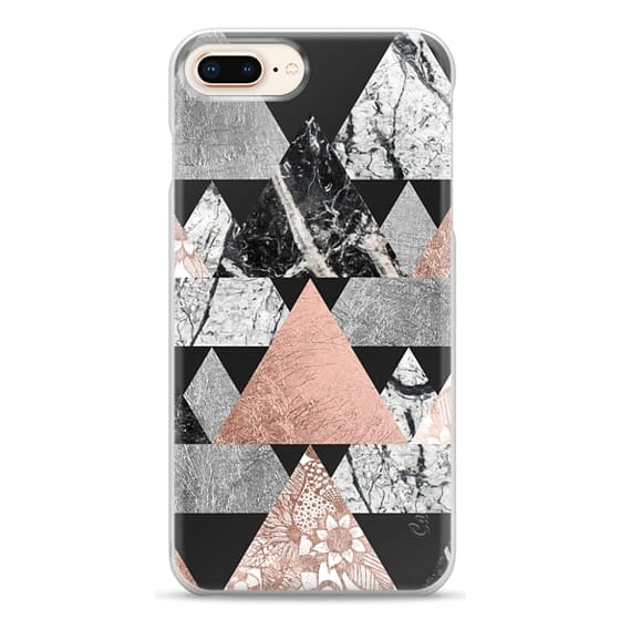 iPhone 8 Plus Cases - Modern Elegant Floral Faux Rose Gold and Silver and Black and White Marble Geometric Triangles on Black