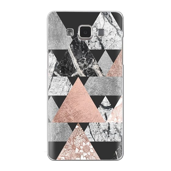 Samsung Galaxy A5 Cases - Modern Elegant Floral Faux Rose Gold and Silver and Black and White Marble Geometric Triangles on Black