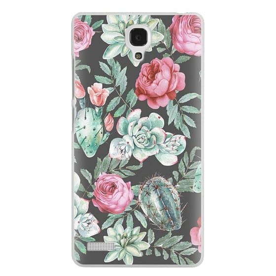Redmi Note Cases - Cute Succulent Watercolor Painted Flower  Cactus Pattern