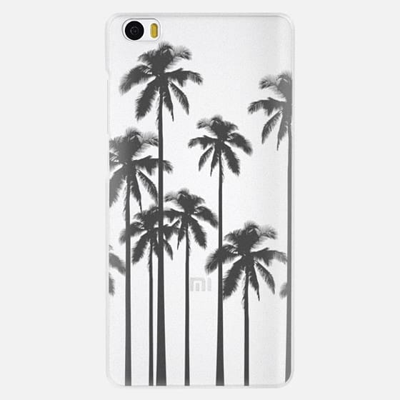 Black Summer Palm Trees on Transparent Background