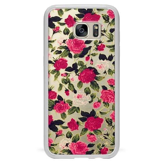 Samsung Galaxy S7 Edge Cases - Pretty Pink Roses Flowers Pattern on Transparent Background