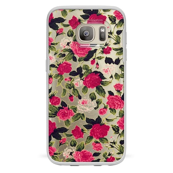 Samsung Galaxy S7 Cases - Pretty Pink Roses Flowers Pattern on Transparent Background