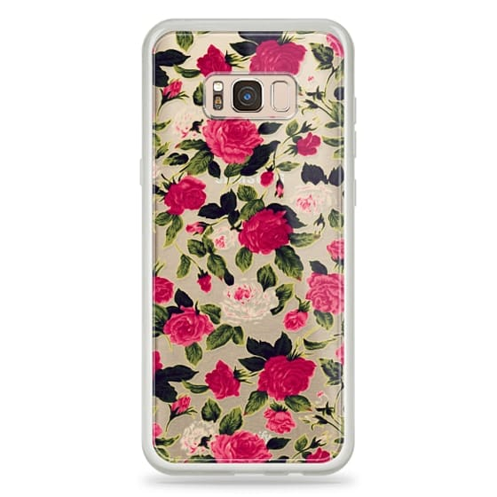 Samsung Galaxy S8 Plus Cases - Pretty Pink Roses Flowers Pattern on Transparent Background