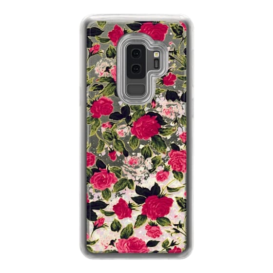 Samsung Galaxy S9 Plus Cases - Pretty Pink Roses Flowers Pattern on Transparent Background