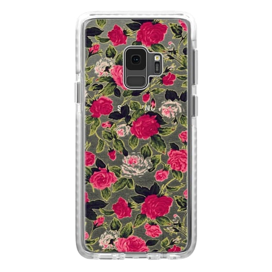 Samsung Galaxy S9 Cases - Pretty Pink Roses Flowers Pattern on Transparent Background