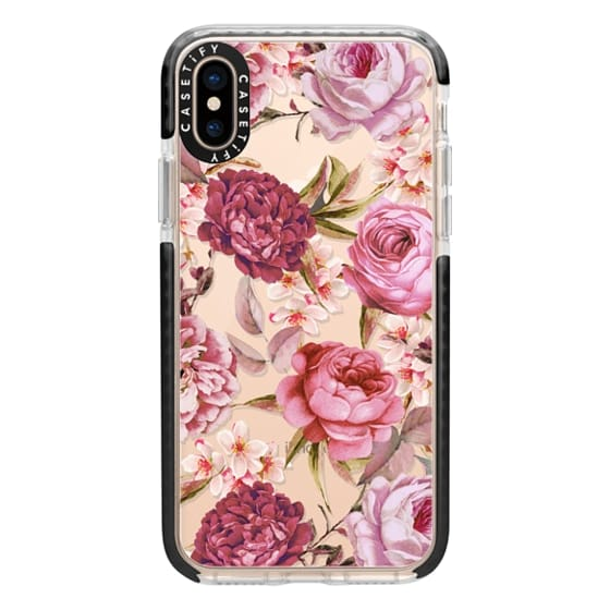 iPhone XS Cases - Blush Pink Rose Watercolor Chic Illustration Floral Pattern