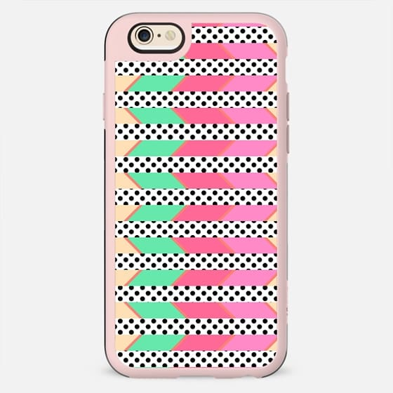 Girly Pink, Yellow, and Teal Chevron Stripes and Polka Dots Pattern - New Standard Case
