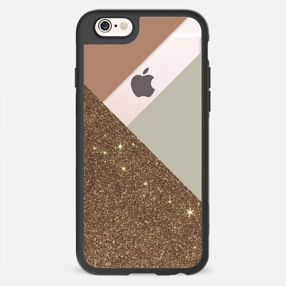 Elegant Faux Gold Printed Glitter with Taupe and Brown Color Blocks- Transparent -