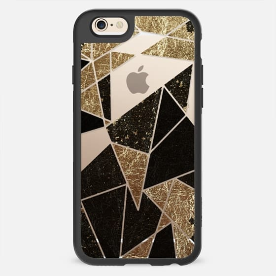 Black Faux Gold Rustic Abstract Linear Geometric Triangles Pattern on Transparent Background  -