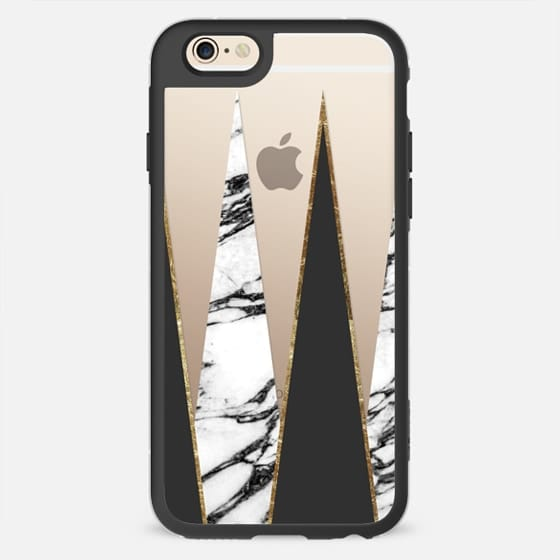 Long Geometric Black White Faux Gold Marble Triangles - New Standard Case