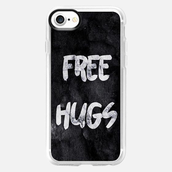 Free Hugs Black Modern Brushstroke Typography on Grunge Paint -