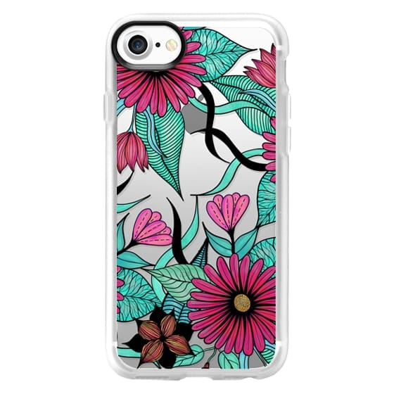 Girly Pink Teal and Black Floral Illustrations