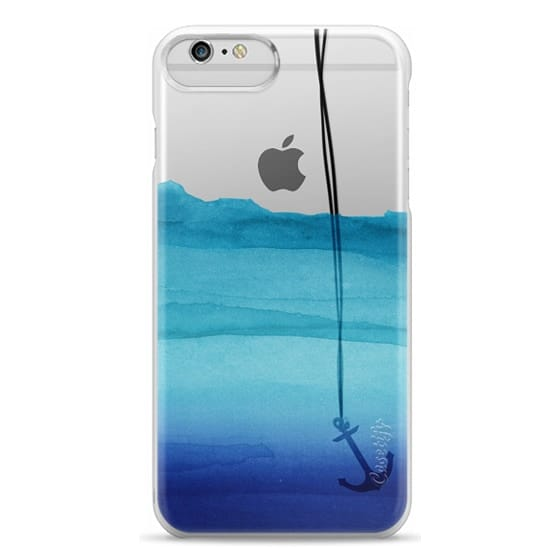 iPhone 6 Plus Cases - Watercolor Ocean Blue Gradient Nautical Anchor on Transparent Background