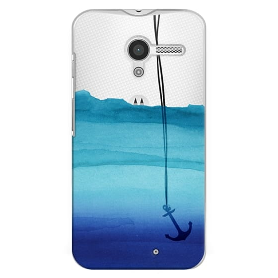 Moto X Cases - Watercolor Ocean Blue Gradient Nautical Anchor on Transparent Background