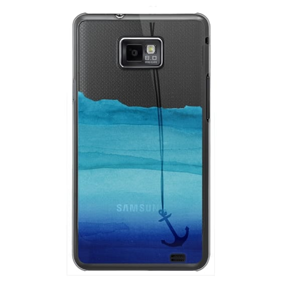Samsung Galaxy S2 Cases - Watercolor Ocean Blue Gradient Nautical Anchor on Transparent Background