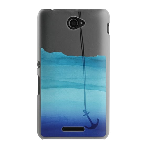 Sony E4 Cases - Watercolor Ocean Blue Gradient Nautical Anchor on Transparent Background