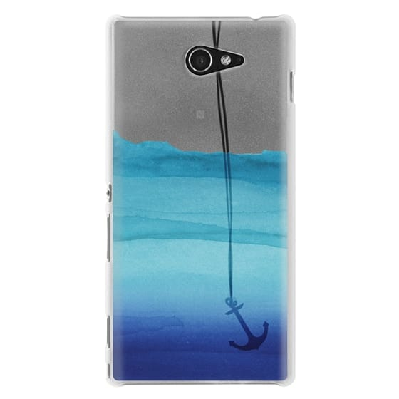 Sony M2 Cases - Watercolor Ocean Blue Gradient Nautical Anchor on Transparent Background
