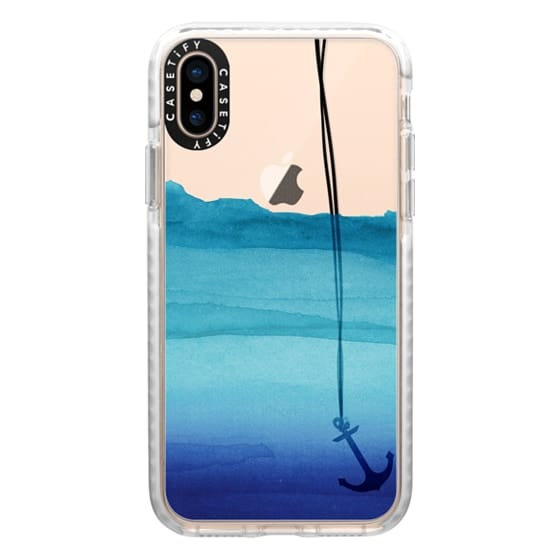 iPhone XS Cases - Watercolor Ocean Blue Gradient Nautical Anchor on Transparent Background