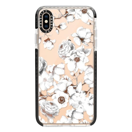 iPhone XS Max Cases - Trendy Elegant Watercolor White Floral Chic Pattern