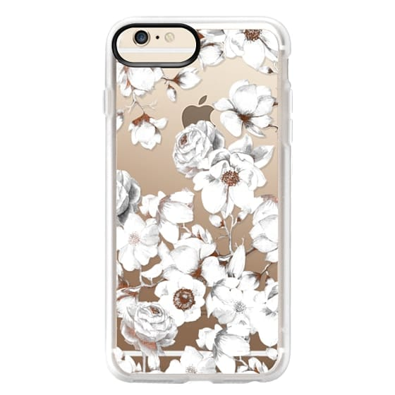 iPhone 6s Plus Cases - Trendy Elegant Watercolor White Floral Chic Pattern