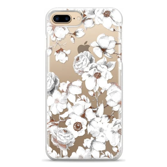 iPhone 7 Plus Cases - Trendy Elegant Watercolor White Floral Chic Pattern