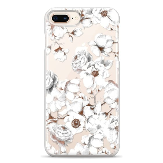 iPhone 8 Plus Cases - Trendy Elegant Watercolor White Floral Chic Pattern