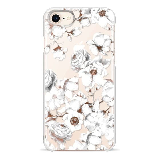 iPhone 8 Cases - Trendy Elegant Watercolor White Floral Chic Pattern