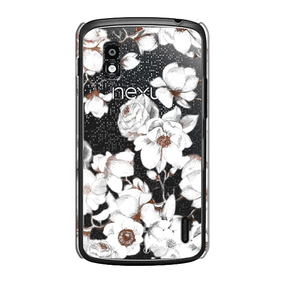 Nexus 4 Cases - Trendy Elegant Watercolor White Floral Chic Pattern