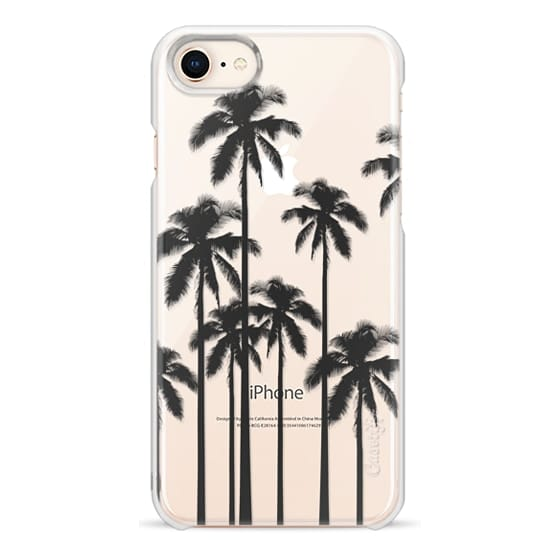 iPhone 8 Cases - Black Summer Palm Trees on Transparent Background