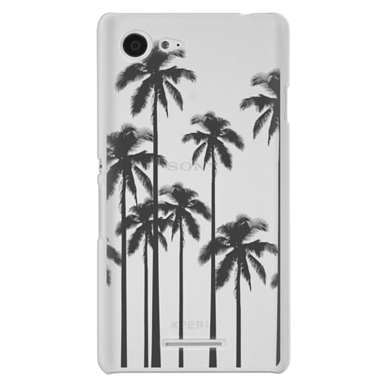 Sony E3 Cases - Black Summer Palm Trees on Transparent Background