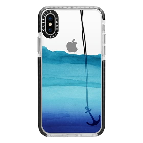 iPhone X Cases - Watercolor Ocean Blue Gradient Nautical Anchor on Transparent Background