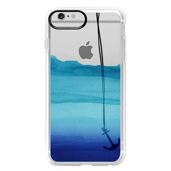 iPhone 6 Plus Cases - Watercolor Ocean Blue Gradient Nautical Anchor on Transparent Background