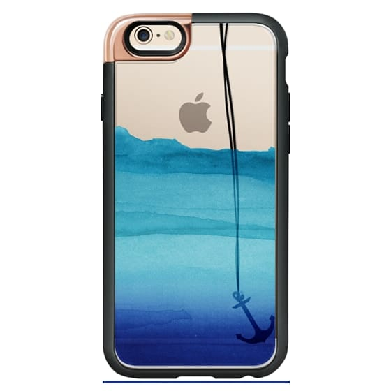Ultra Impact Iphone X Case Watercolor Ocean Blue Gradient Nautical Anchor On Transparent Background