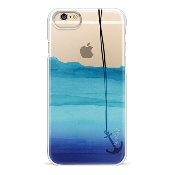 iPhone 6 Cases - Watercolor Ocean Blue Gradient Nautical Anchor on Transparent Background