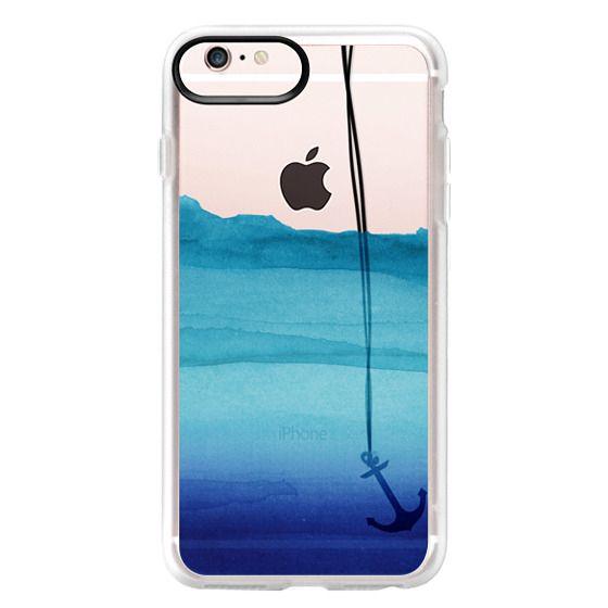 iPhone 6s Plus Cases - Watercolor Ocean Blue Gradient Nautical Anchor on Transparent Background
