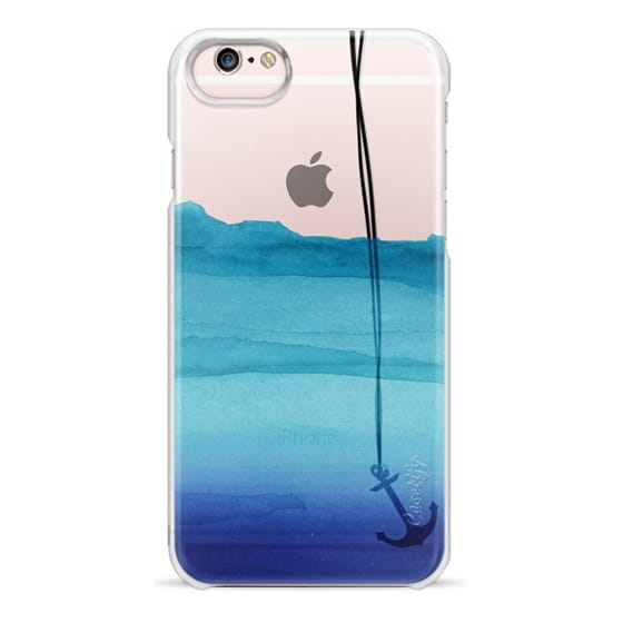 iPhone 6s Cases - Watercolor Ocean Blue Gradient Nautical Anchor on Transparent Background