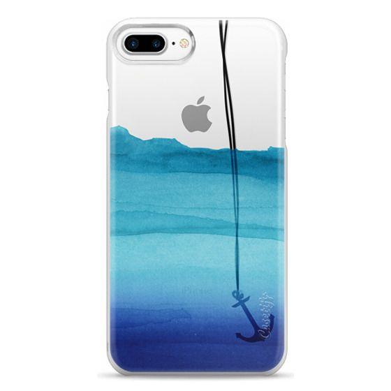 iPhone 7 Plus Cases - Watercolor Ocean Blue Gradient Nautical Anchor on Transparent Background