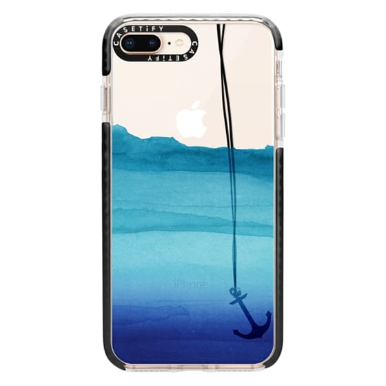 iPhone 8 Plus Cases - Watercolor Ocean Blue Gradient Nautical Anchor on Transparent Background
