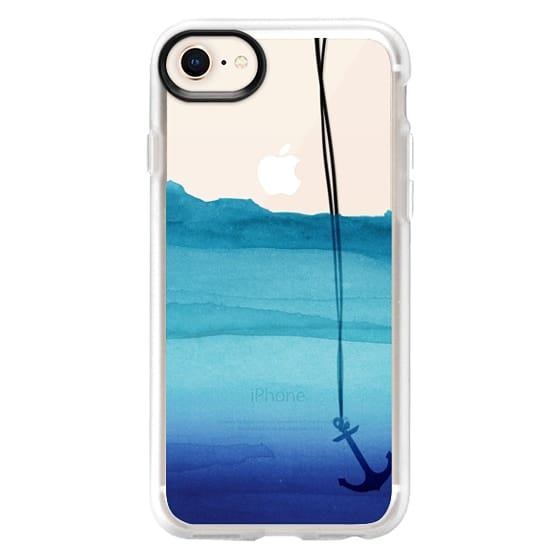 iPhone 8 Cases - Watercolor Ocean Blue Gradient Nautical Anchor on Transparent Background