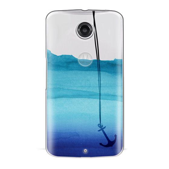 Nexus 6 Cases - Watercolor Ocean Blue Gradient Nautical Anchor on Transparent Background